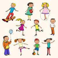 Enfants croquis colorés vecteur