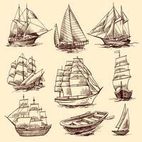 Ensemble de croquis de navires et bateaux vecteur