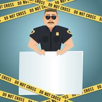 Affiche de policier avec du ruban jaune vecteur