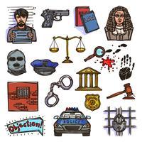 Couleur des croquis d'icônes de droit vecteur