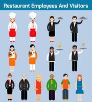 Employés de restaurant à plat vecteur