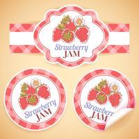 Étiquettes de confiture de fraises