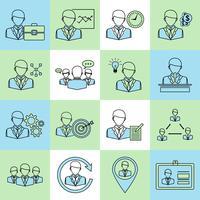 Ligne plate d'icônes de commerce et de gestion