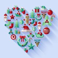 Coeur d'icônes de Noël vecteur