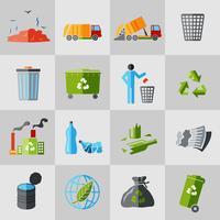 icônes de déchets plats