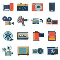 jeu d'icônes photo vidéo vecteur