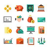 finances ensemble d'icônes