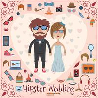 Carte de mariage hipster vecteur