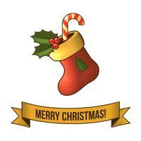 Icône de chaussette de Noël vecteur