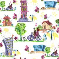 Modèle sans couture coloré de ville Doodle