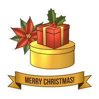 Icône de boîte de cadeau de Noël vecteur