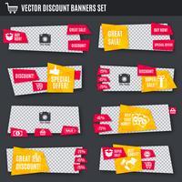 Bannières de réduction set jaune et rouge vecteur