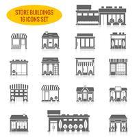 Icônes de bâtiment de magasin définies en noir
