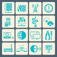 Bouton plat d'icônes de réseau
