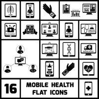 icônes de santé mobile mis en noir