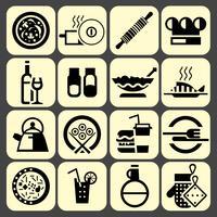 Cuisson des icônes de la nourriture définie en noir vecteur