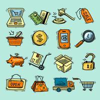 Jeu d'icônes de couleur de commerce électronique vecteur