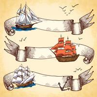 Jeu de bannières nautiques vecteur