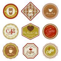 Jeu d'étiquettes de café vecteur