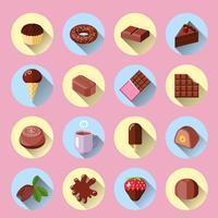 Icônes de chocolat plats