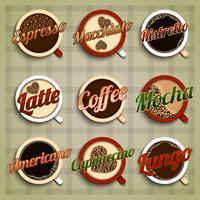 Jeu d'étiquettes de menu café