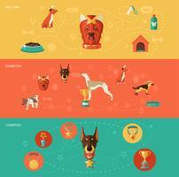 Ensemble de bannière d'icônes de chien vecteur