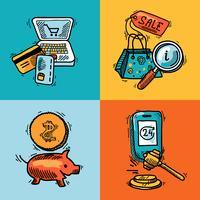 Concept de croquis de conception de commerce électronique