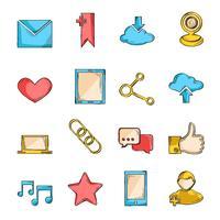 Ligne de croquis d'icônes de réseaux sociaux