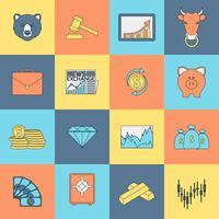 Ligne plate d'icônes d'échanges financiers