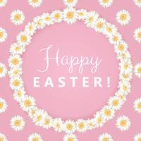 Bonne carte de Pâques. Camomille cadre rond sur fond rose