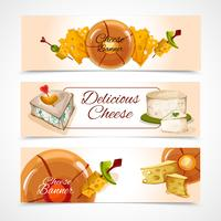 Bannières de fromage horizontales vecteur