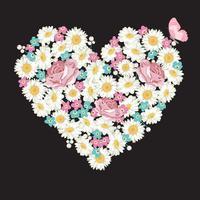 Forme de coeur. Roses, camomille et fleurs myosotis, papillon sur fond noir vecteur