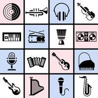 Ensemble d'instruments de musique noir vecteur