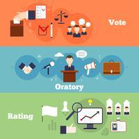 Ensemble de bannières d'élections vecteur