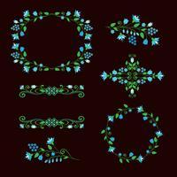 Ensemble d'éléments de conception florale, cadres ornementaux. vecteur