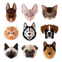 Jeu d'icônes plat de portrait animaux