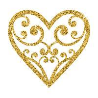 Coeur de Saint Valentin de paillettes ornementales sur fond blanc.