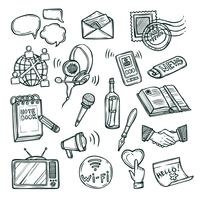 Jeu d'icônes de communication vecteur