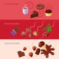 Bannières plates au chocolat vecteur