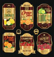 Ensemble de collection d'étiquettes dorées vintage rétro de fruits bio