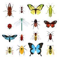 Ensemble d'icônes insectes vecteur