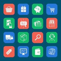 shopping jeu d'icônes de commerce électronique