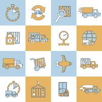 Icônes de livraison mis en ligne plate vecteur