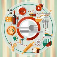 Plaque d'icônes de nourriture vecteur