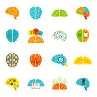 Icônes de cerveau à plat vecteur