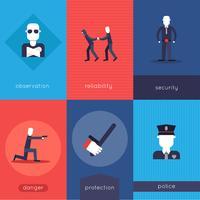 Jeu de mini affiches de gardien de sécurité vecteur