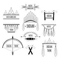 Jeu d'étiquettes tribales vecteur