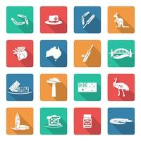 Australie icônes définies en blanc