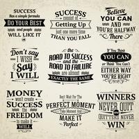 Ensemble de citations de réussite vecteur