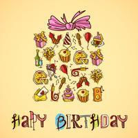 Carte d'anniversaire avec boîte-cadeau vecteur